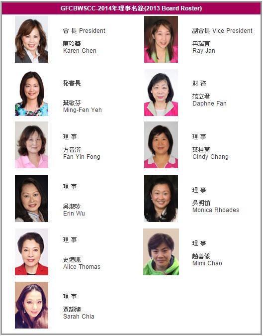 GFCBWSCC-2014理事名錄 (2013 Board Roster)
